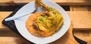 photo cuisse de poulet aux 5 épices et purée de patates douces