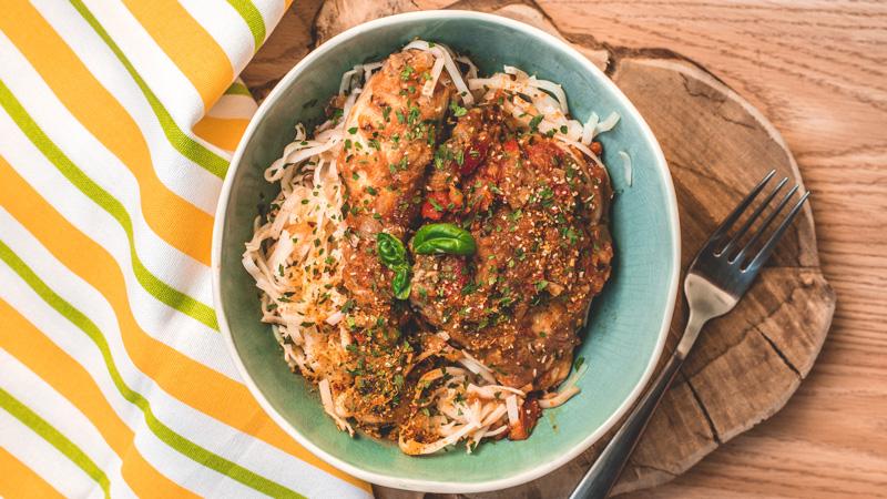 poulet basquaise et linguines de riz