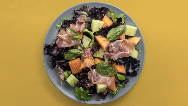 photo salade au melon et jambon cru
