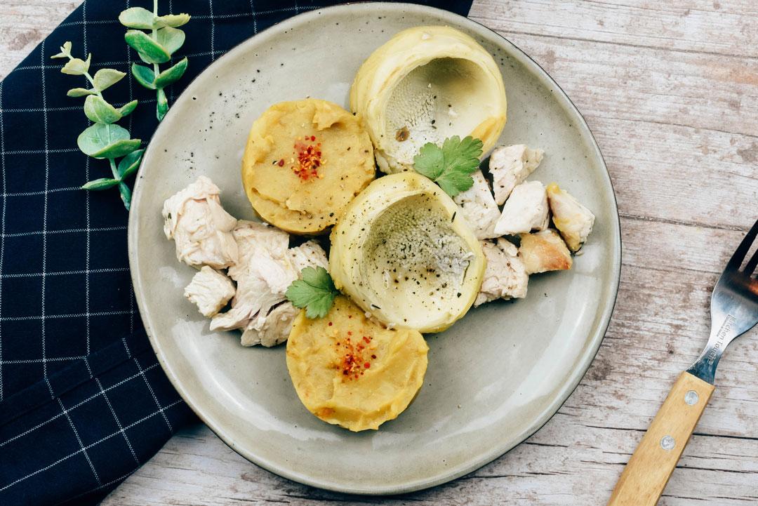 Dinde à l'estragon purée et artichaut
