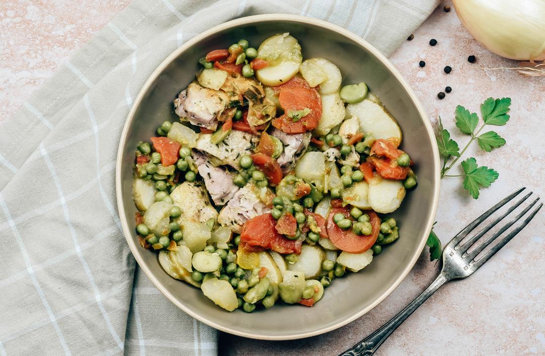 filet de caille à la biable et sa printanière de légumes